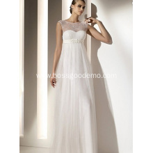 Empire Sheath Column Bateau Neck Floor-length Chiffon Lace Draped Wedding Dress1